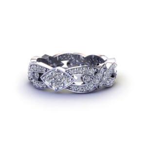 Diamond Crossover Wedding Band