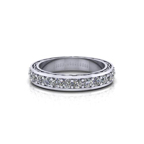 Etched Diamond Wedding Band