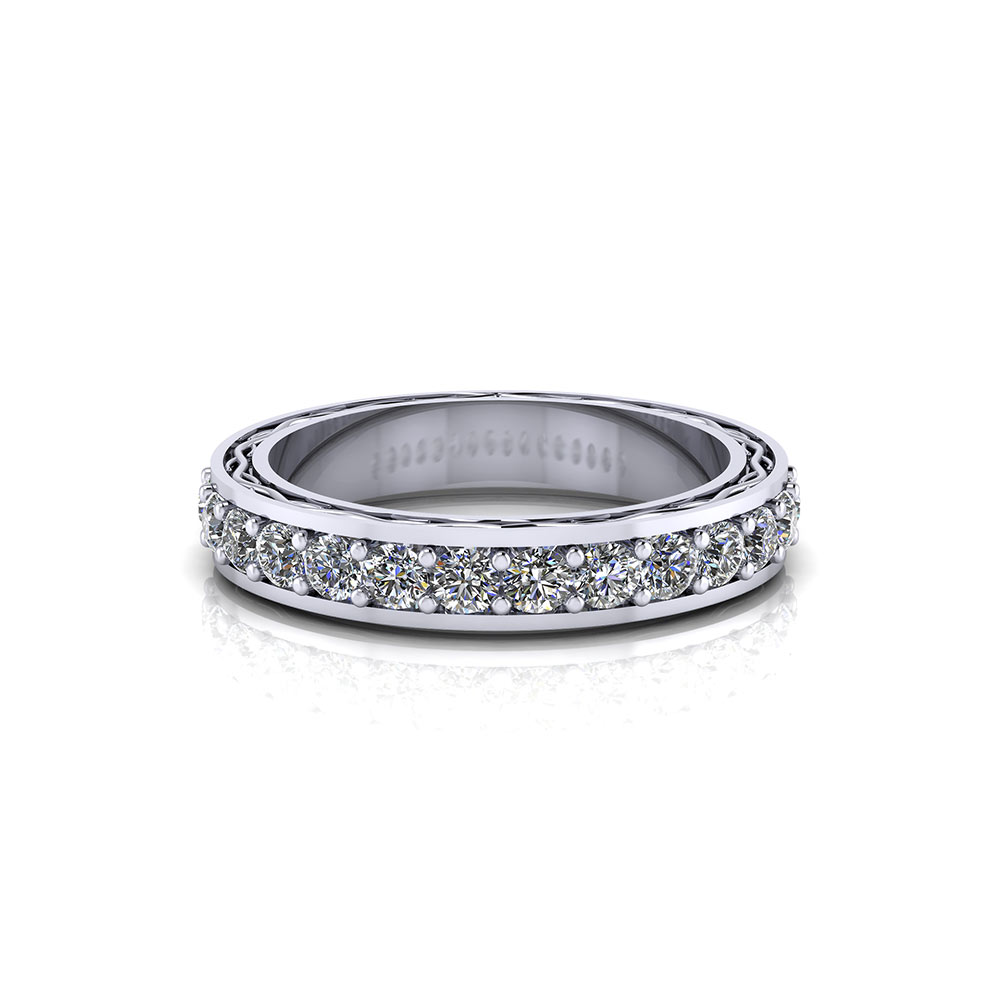 Etched Diamond Wedding Band