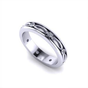 Diamond Eyelet Wedding Ring