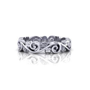 Whimsical Scrolling Wedding Ring