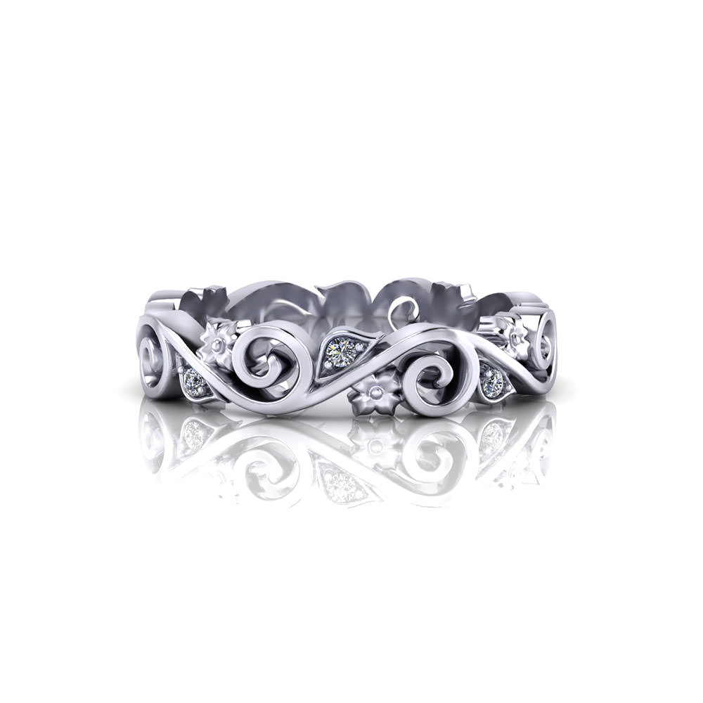 Whimsical Scrolling Wedding Ring