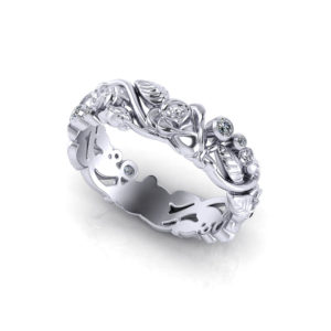 Diamond Rose Wedding Band