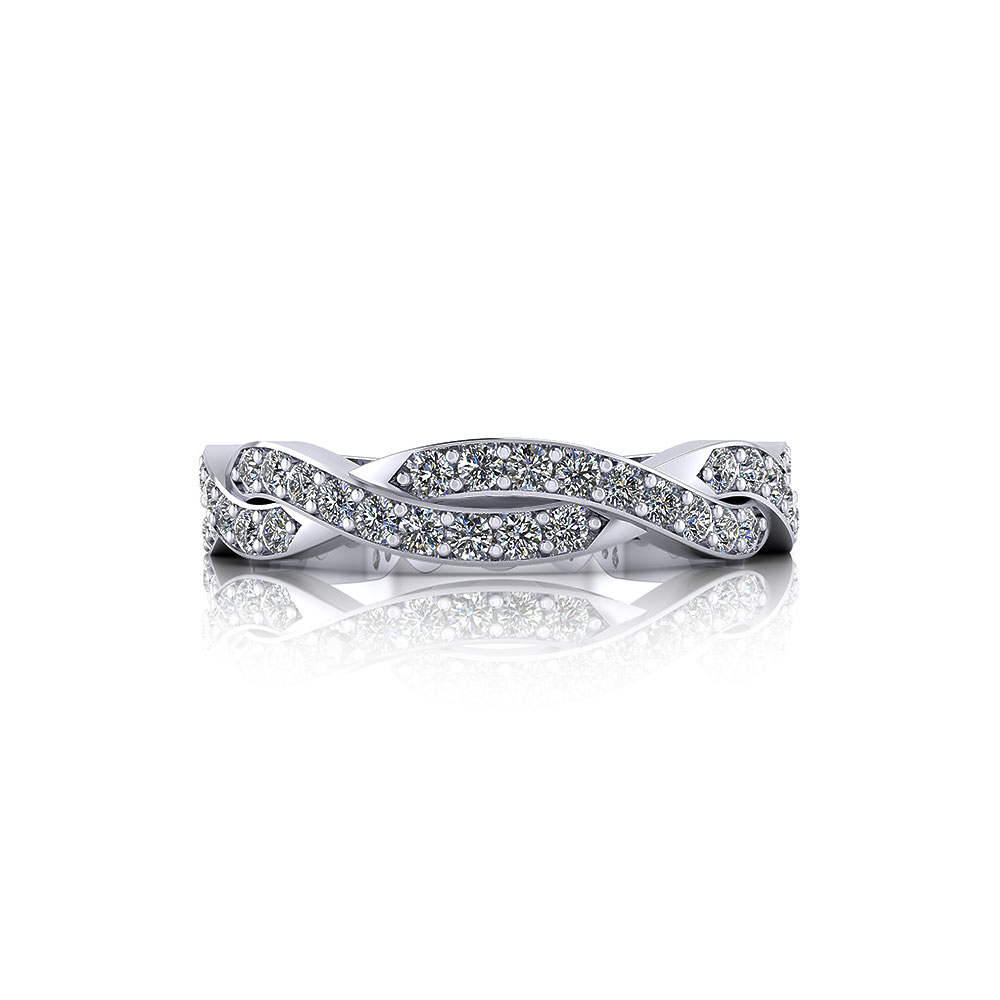 Diamond Weave Wedding Band