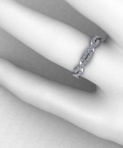 Diamond Weave Wedding Band