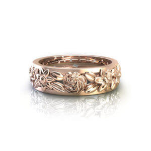 Rose Gold Floral Wedding Ring