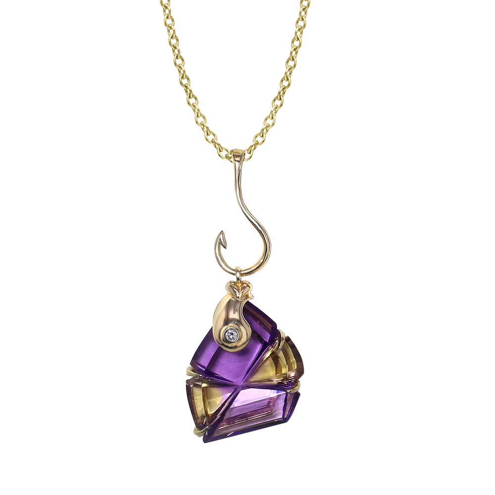 Fish hook ametrine necklace jewelry designs for Gold fish hook necklace