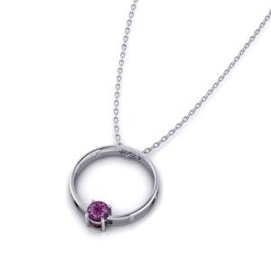 Round Garnet Slide Necklace