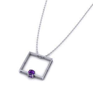 Square Amethyst Slide Necklace