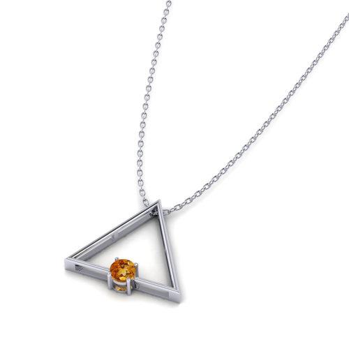 Triangular Citrine Slide Necklace