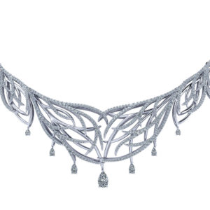 Feather Diamond Bib Necklace