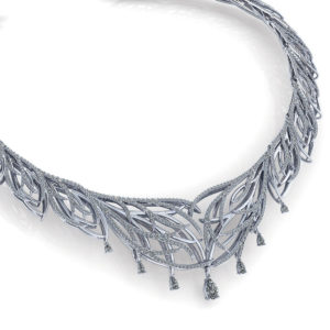 Feather Diamond Bib Necklace