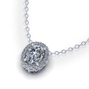 Oval Diamond Halo Necklace