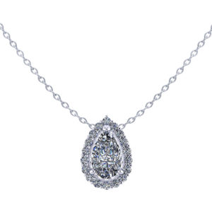Pear Diamond Halo Necklace