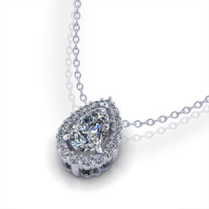 Pear Diamond Halo Necklace
