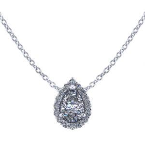 Pear Shape Halo Diamond Necklace