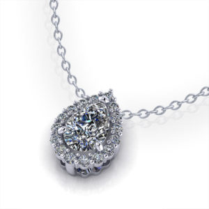 Pear Shape Halo Diamond Necklace