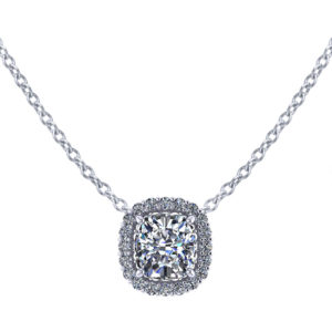 Cushion Diamond Halo Necklace