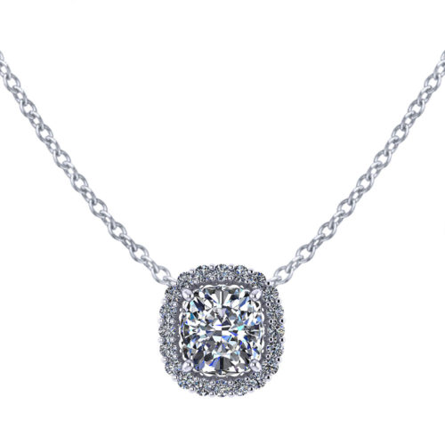 Cushion Diamond Halo Necklace
