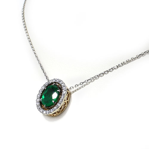 Emerald Halo Necklace