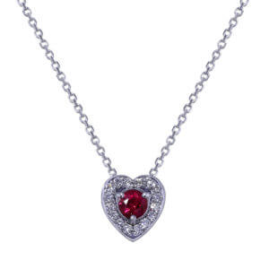 Ruby Diamond Heart Necklace