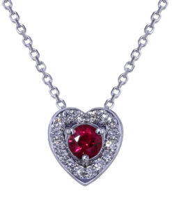Ruby Diamond Heart Necklace