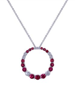 Ruby Diamond Circle Necklace