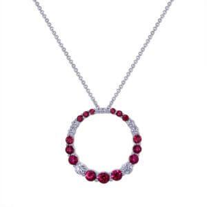 Ruby Diamond Circle Necklace