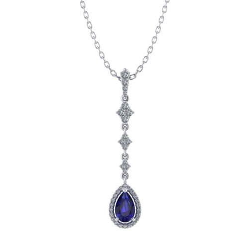 Long Sapphire Drop Necklace