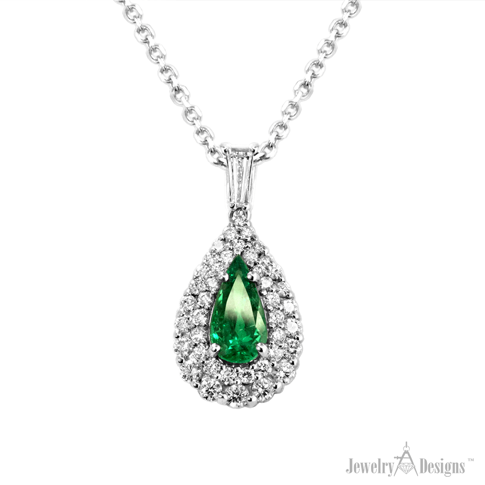NP158-1 Tear Drop Emerald Necklace