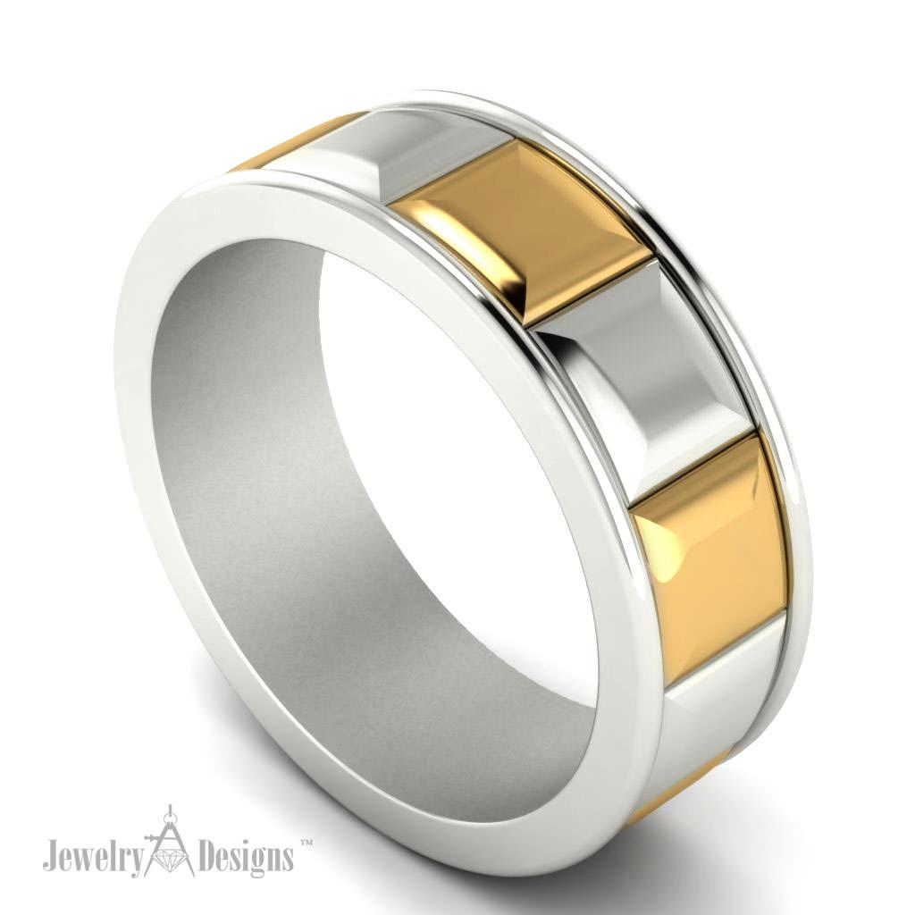 c135223 Two Tone Wedding Ring