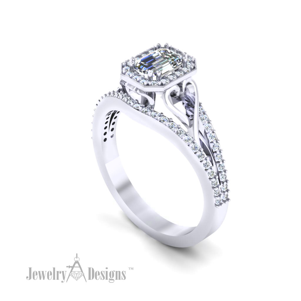 c146483 Emerald Cut Filigree Ring