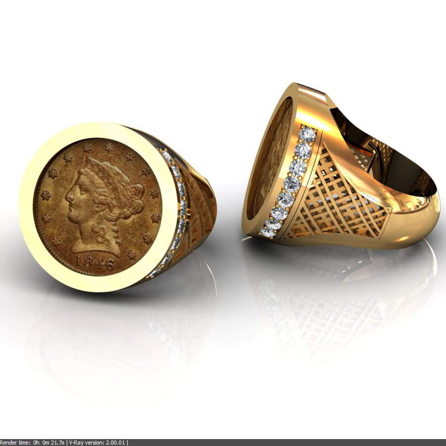 c148096 Men's Coin Ring