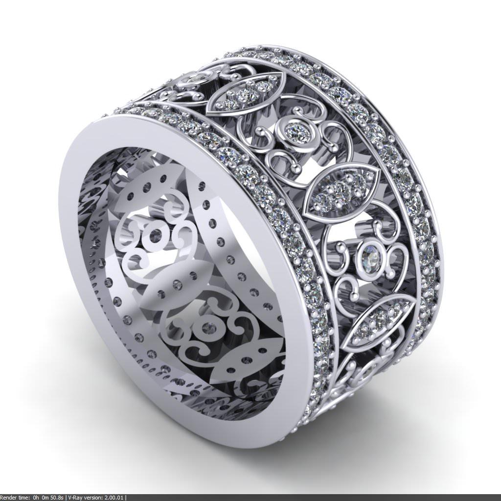 c148317 Filigree Diamond Wedding Ring