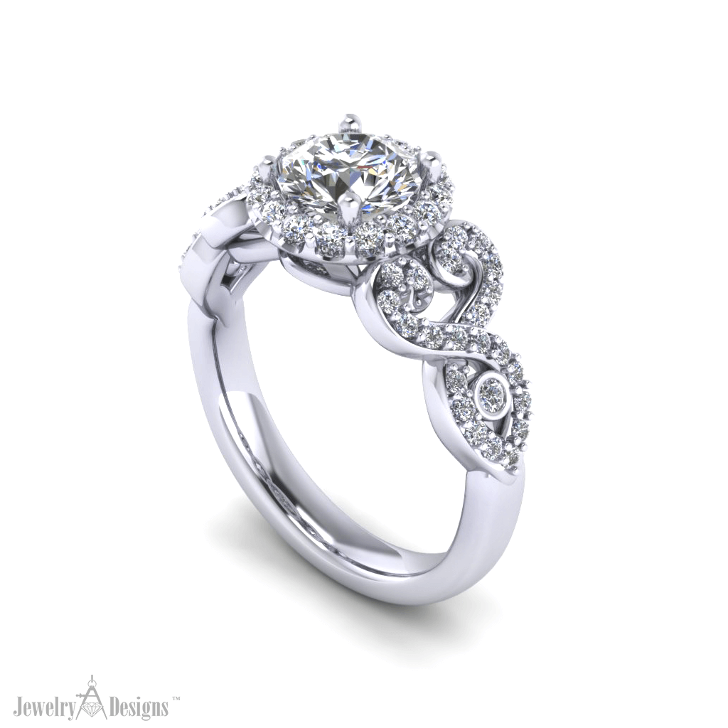 cad276 Scrolling Engagement Ring