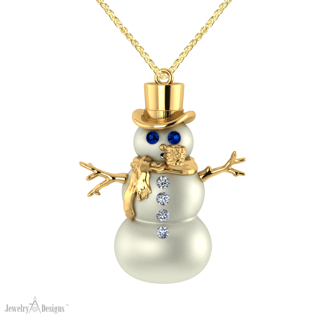 cad281 Snowman Necklace