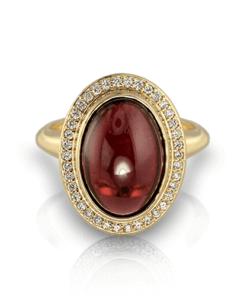 Cabochon Rhodolite Garnet Ring - Jewelry Designs