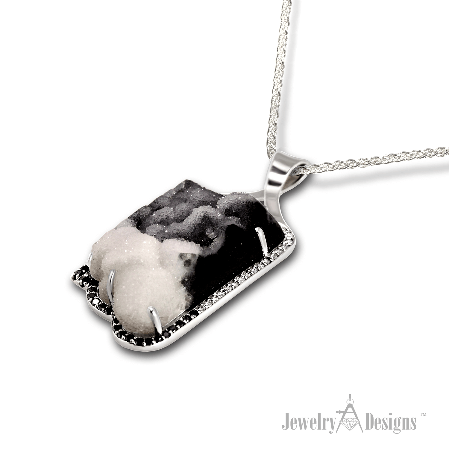 druzy2 Black and White Drusy Necklace