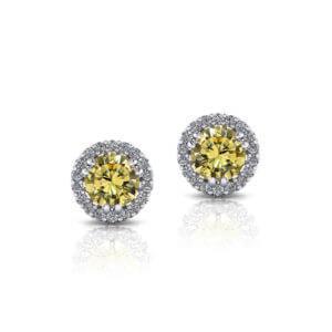 Halo Yellow Diamond Earrings
