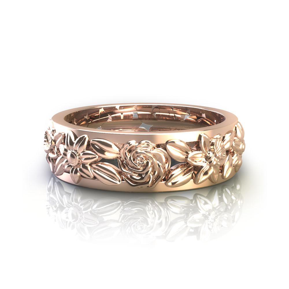floral wedding rings. Black Bedroom Furniture Sets. Home Design Ideas
