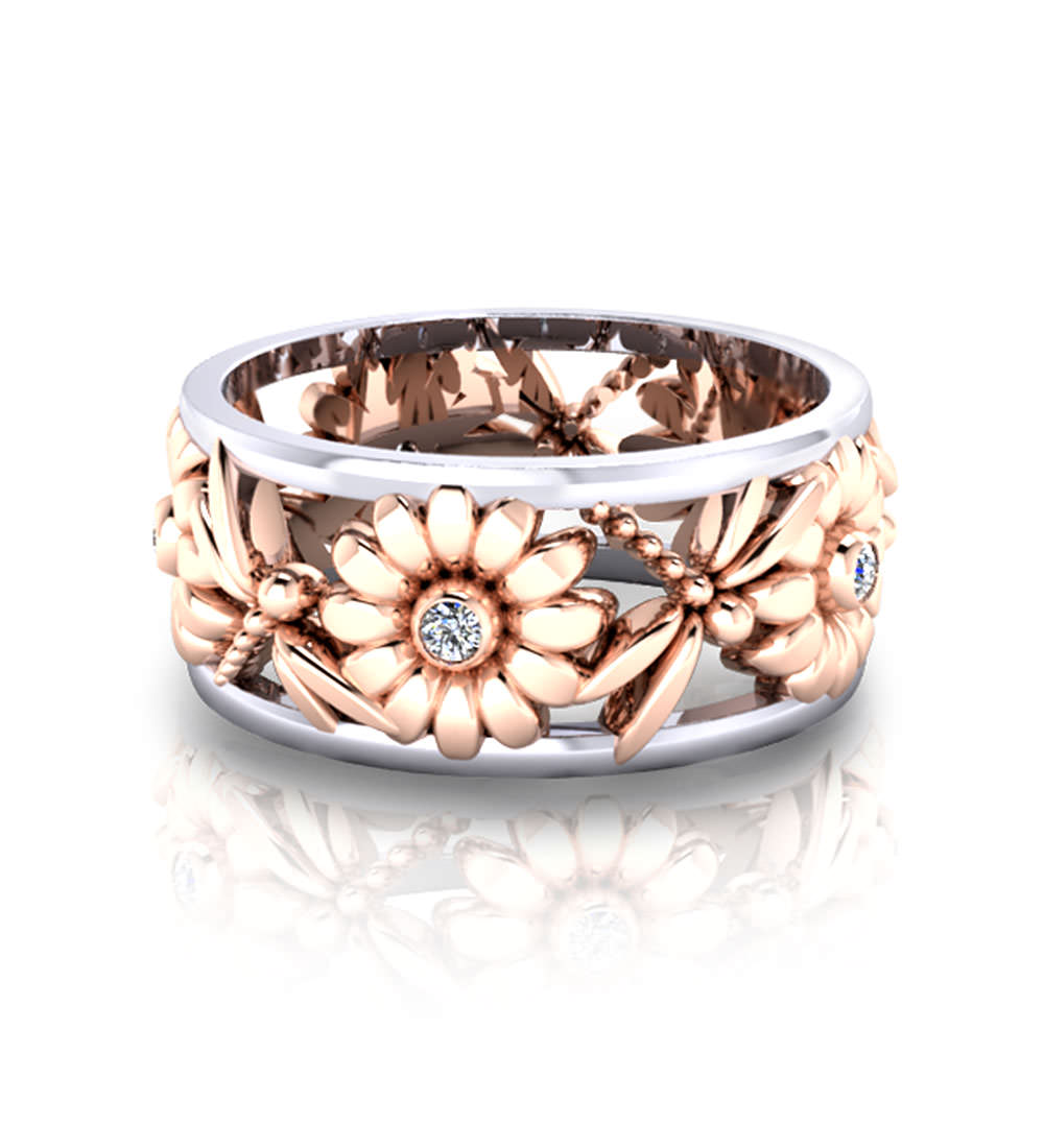floral product style engagement rings wedding vintage flower