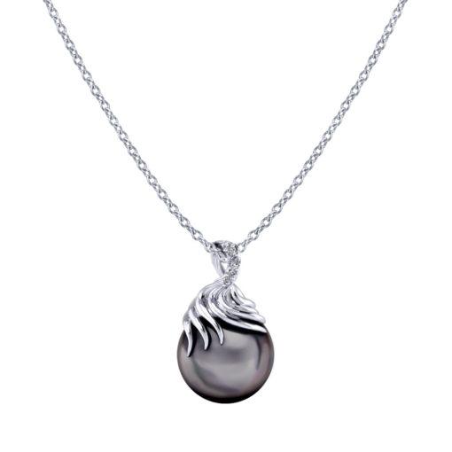 Pearl Diamond Swirl Necklace