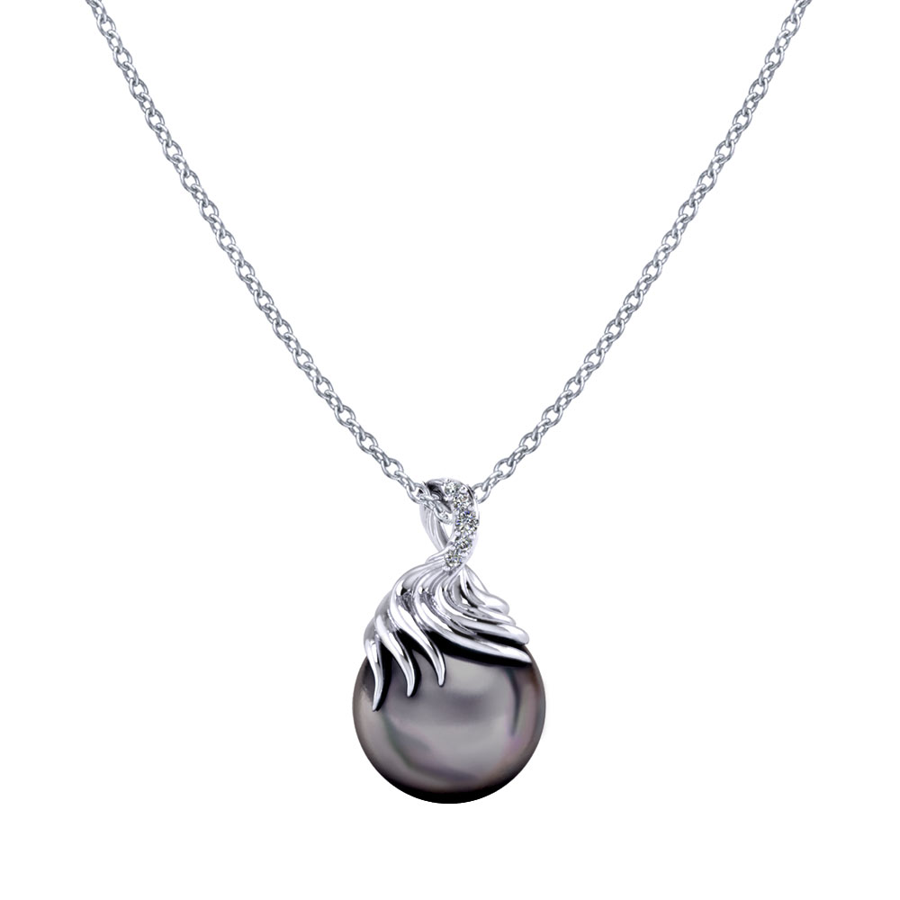 Pearl Diamond Swirl Necklace