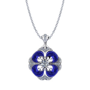 Blue Pansy Diamond Necklace