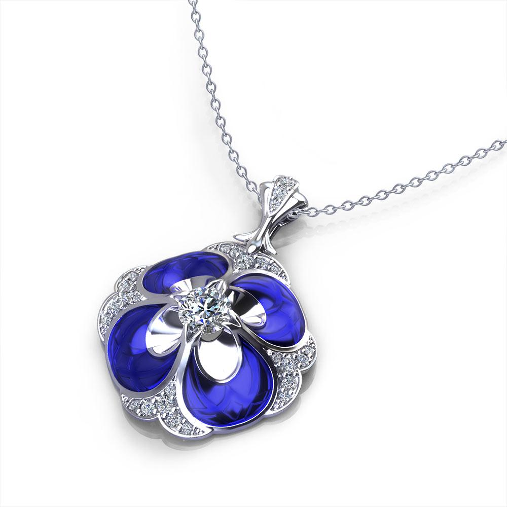 Blue Pansy Diamond Necklace