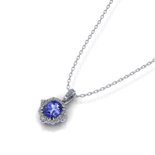 Cushion Sapphire Necklace