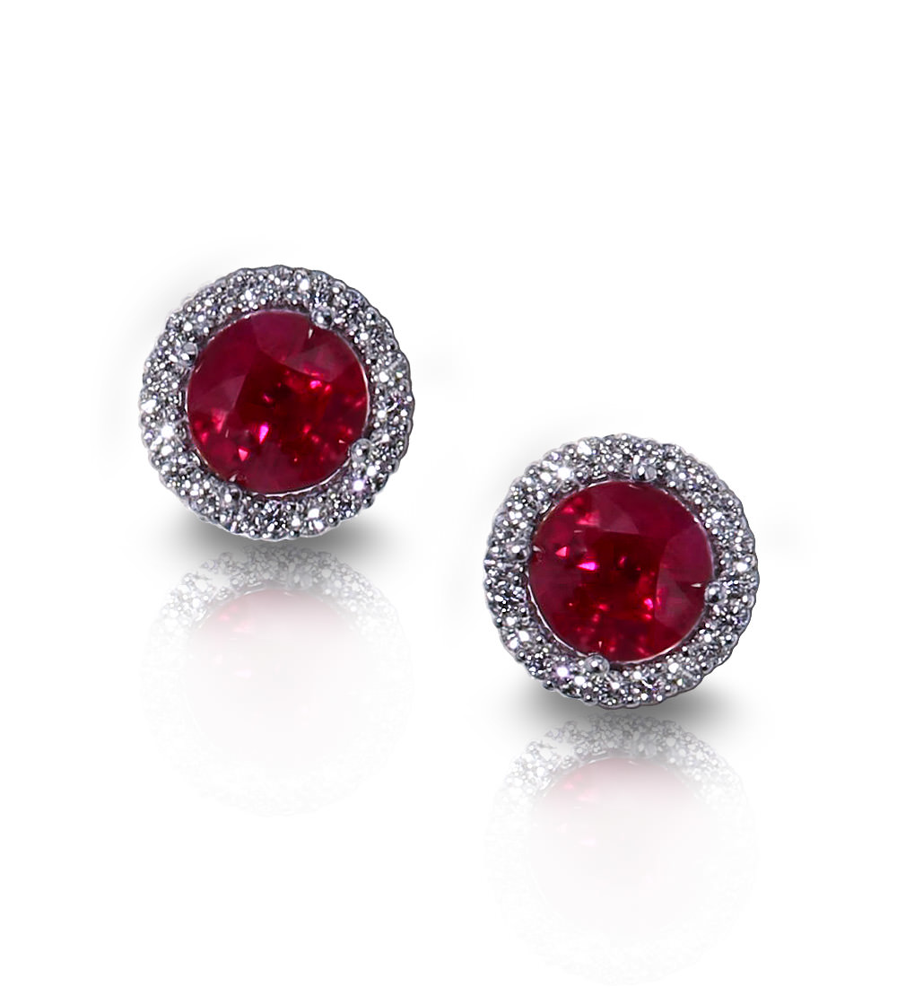 silver earrings round genuine sterling ruby stud red
