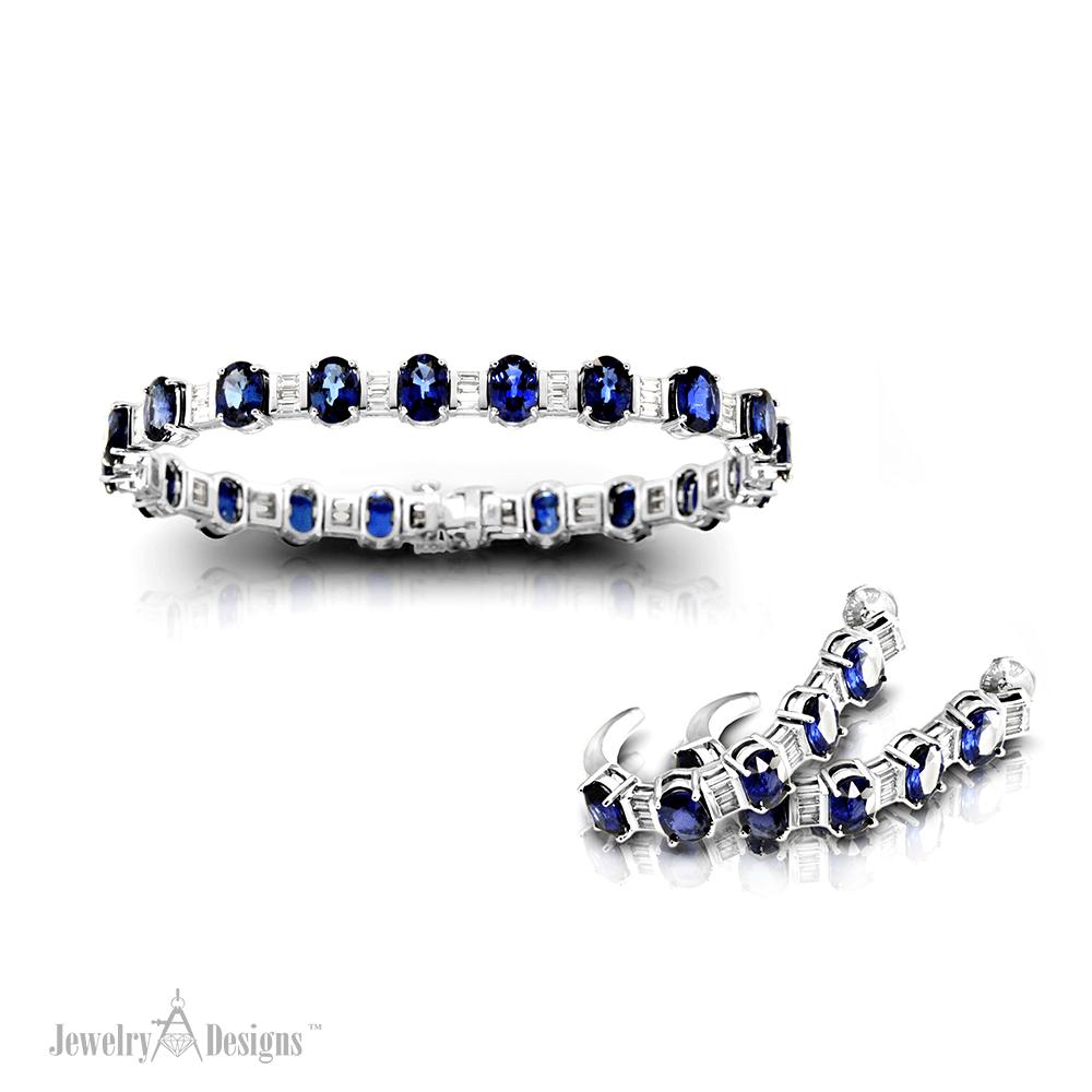 Sapphire Bracelet Earring Set